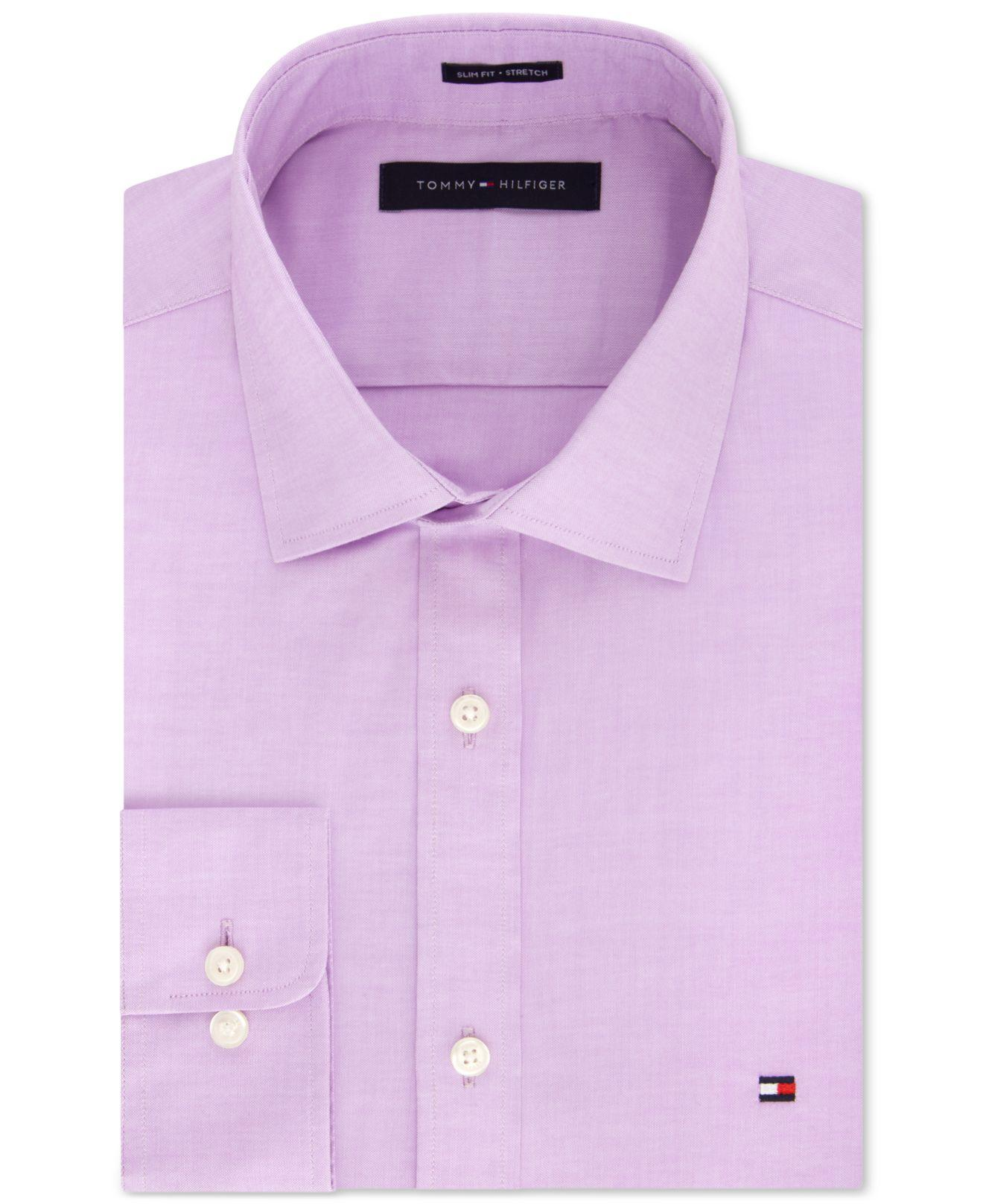 c574b6849676 Tommy Hilfiger - Purple Slim-fit Stretch Solid Dress Shirt for Men - Lyst.  View fullscreen