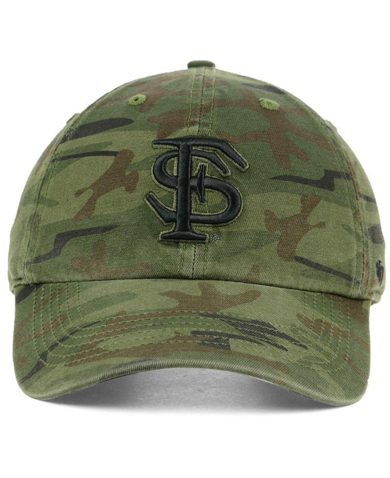 buy popular 09fdf 8a0ee ... clearance lyst 47 brand florida state seminoles regiment clean up  strapback cap in green for men