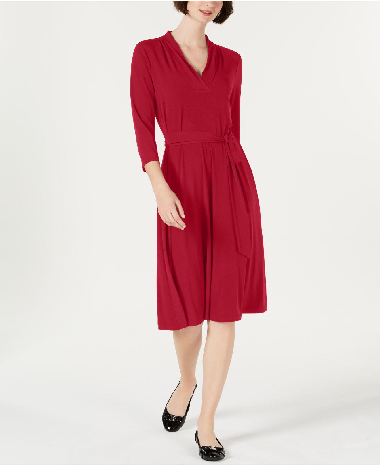 b6b0007777 Charter Club. Women s Red Petite Solid Midi Dress ...