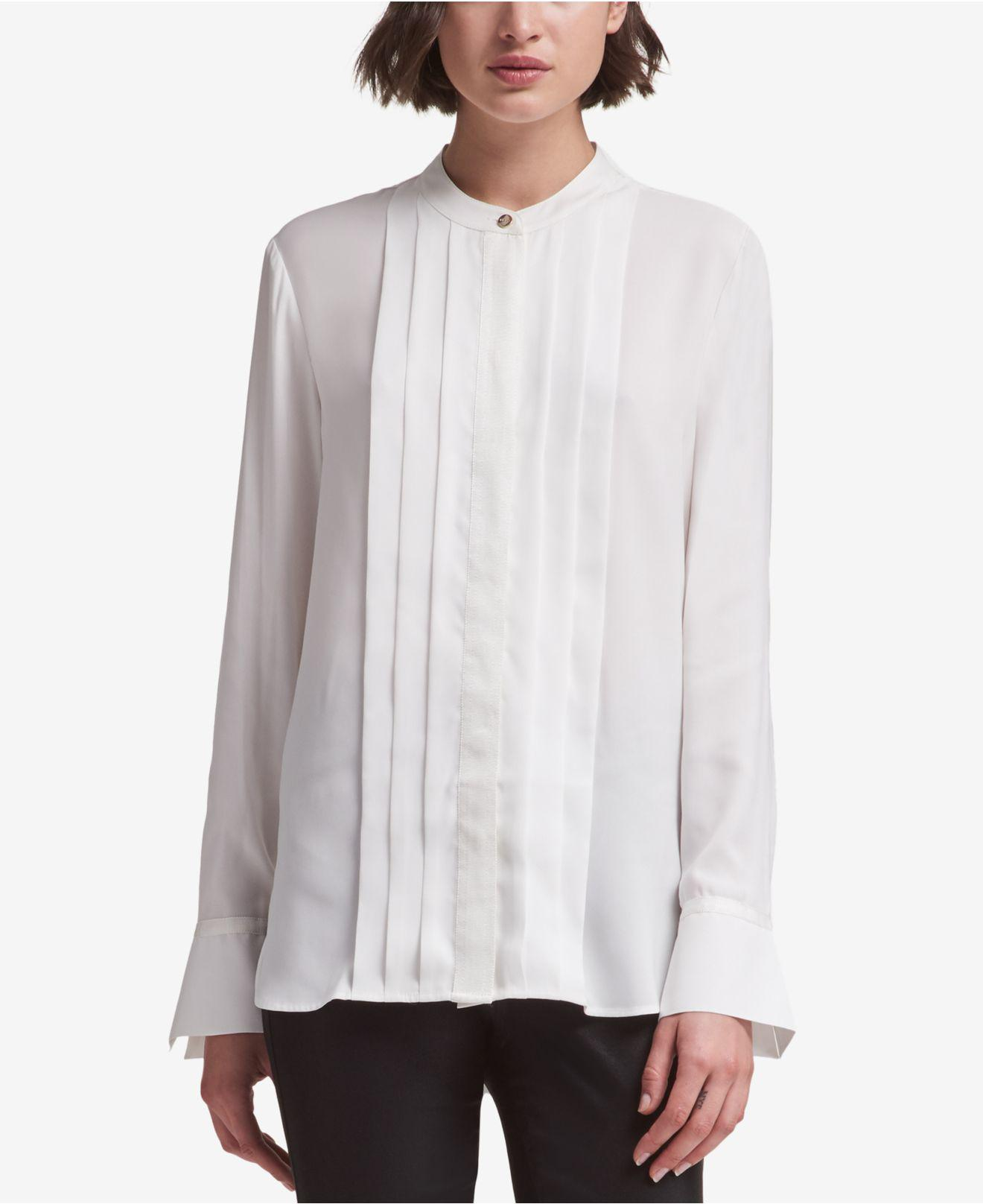 Lyst Dkny Split Cuff Blouse Created For Macy S In White