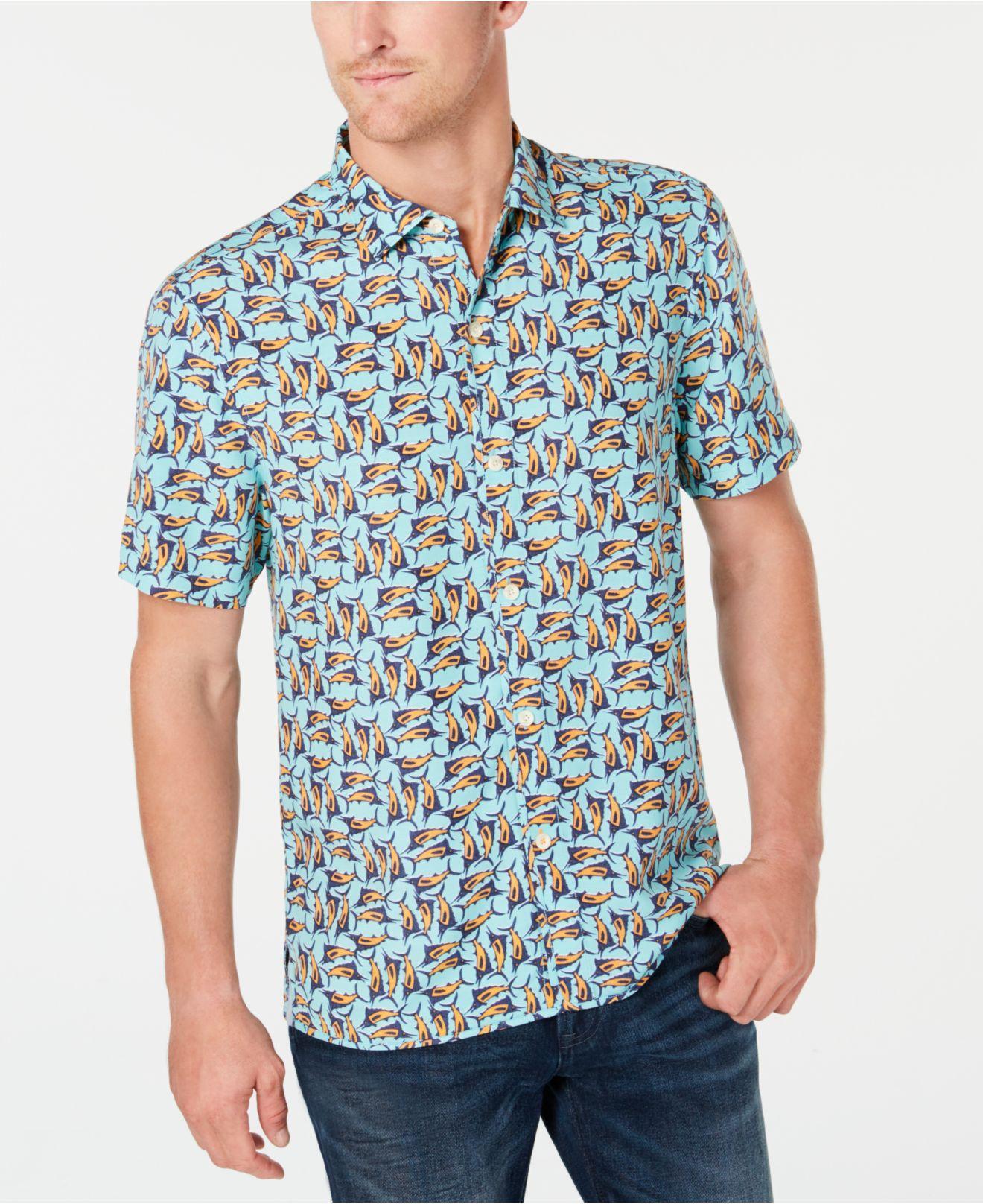 b2329b1b Lyst - Tommy Bahama Moorea Marlins Print Hawaiian Shirt in Blue for ...