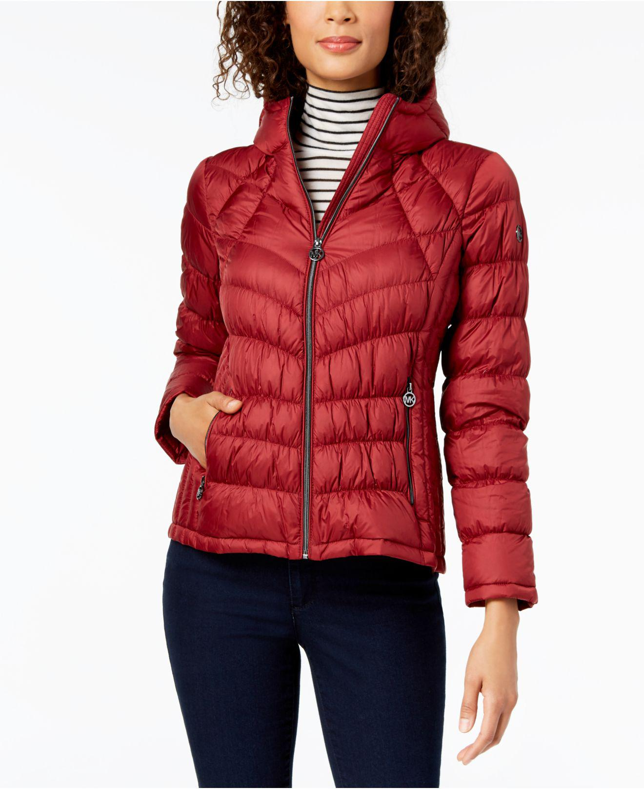 febf94da31a Michael Kors Michael Hooded Packable Puffer Coat in Red - Save 5% - Lyst