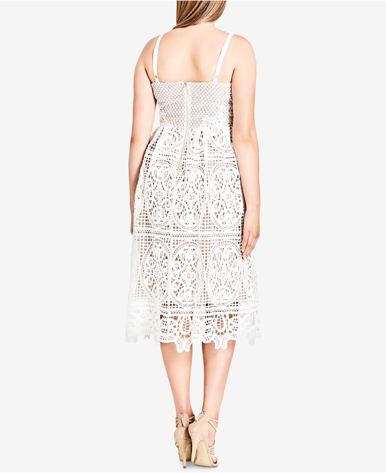 City Chic Trendy Plus Size Mixed-lace Dress in White - Save 62% - Lyst