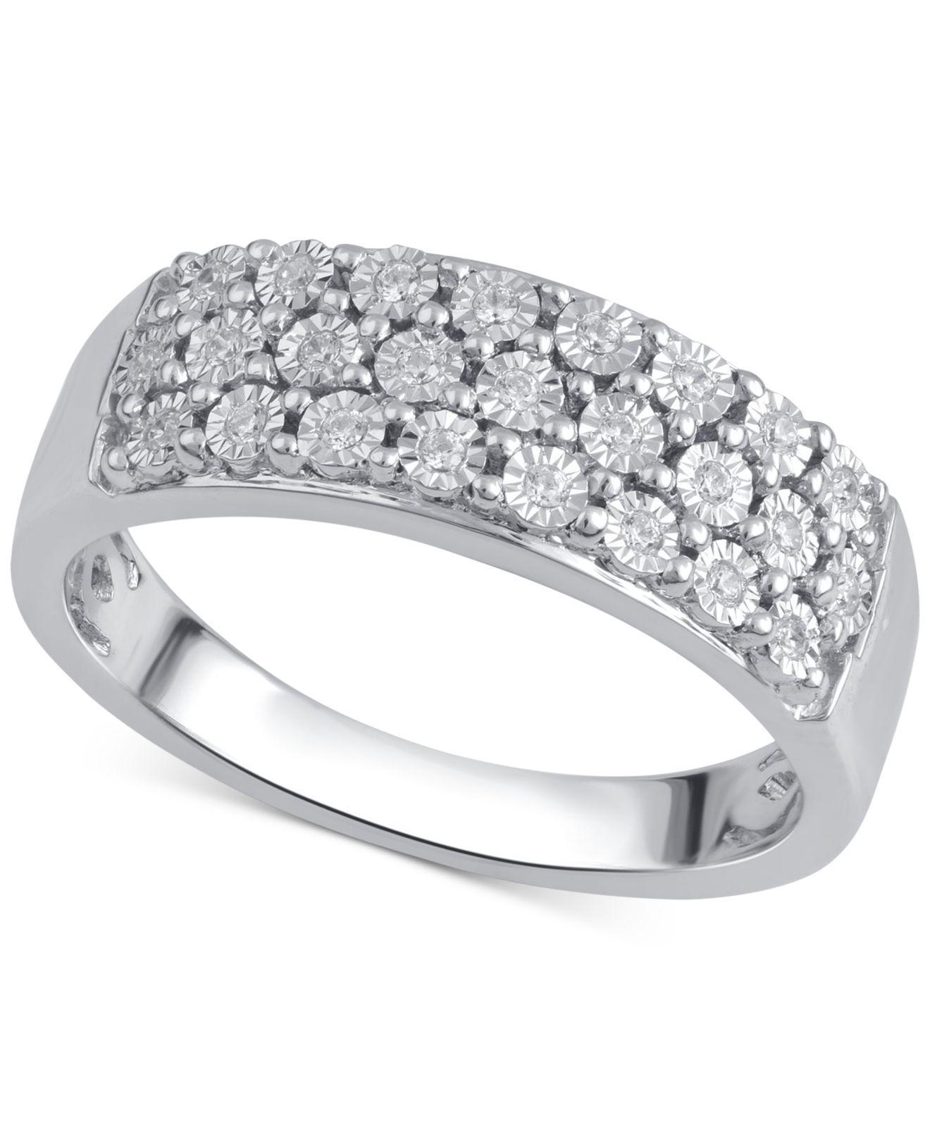 1b09237ec Lyst - Macy's Diamond Three-row Band (1/8 Ct. T.w.) In Sterling ...