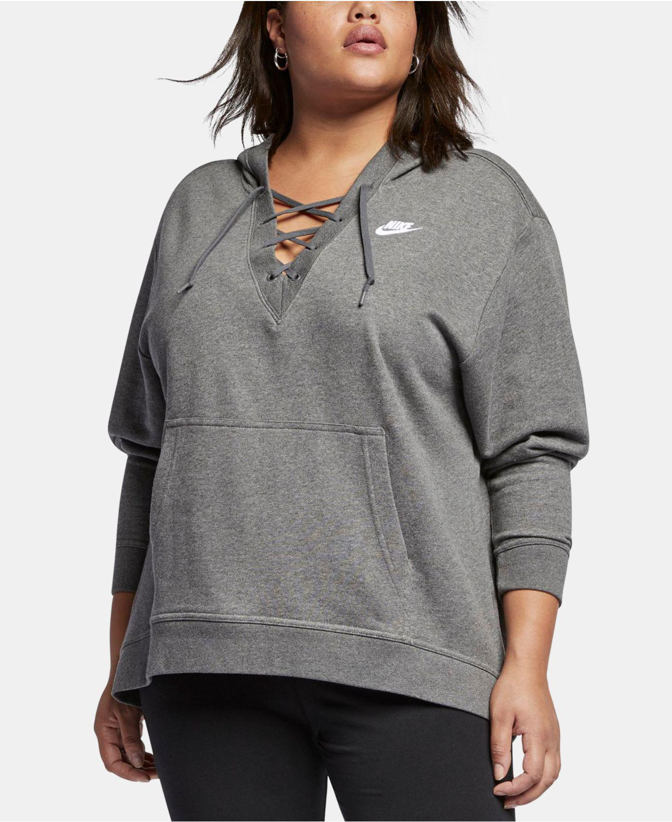 cb17719d89b6 Lyst - Nike Rally Lace-up Hoodie in Gray - Save 25%