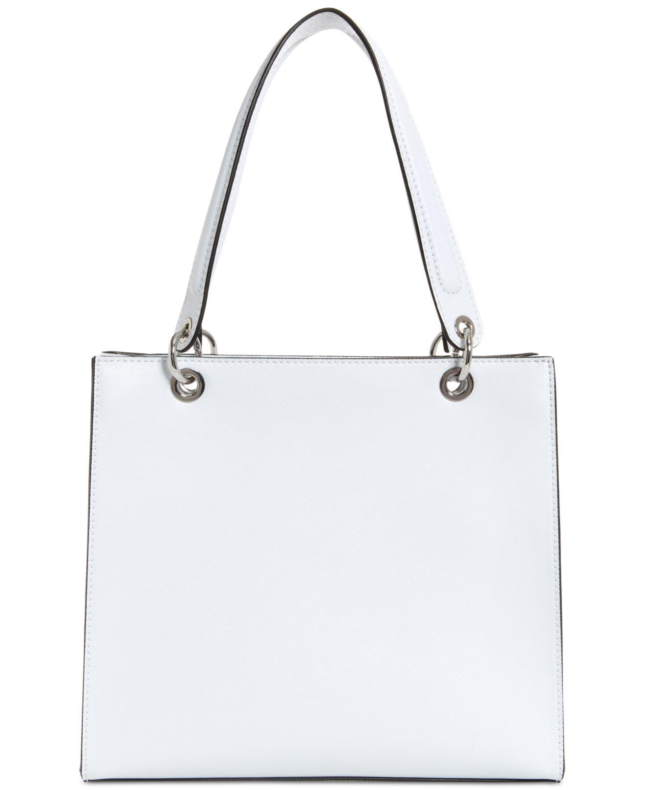 ff59b967a86d Lyst - Guess Varsity Pop Logo Tote in White