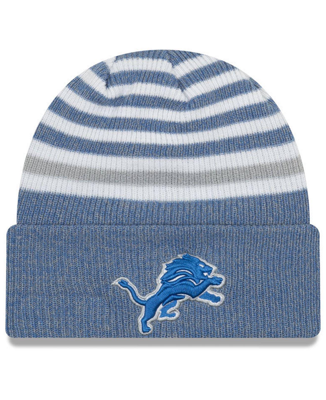 ... best price ktz. womens blue detroit lions striped cuff knit hat 7a492  80516 9d2c2c266
