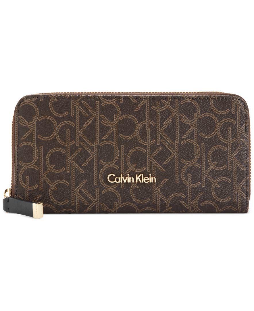 calvin klein monogram wallet in brown
