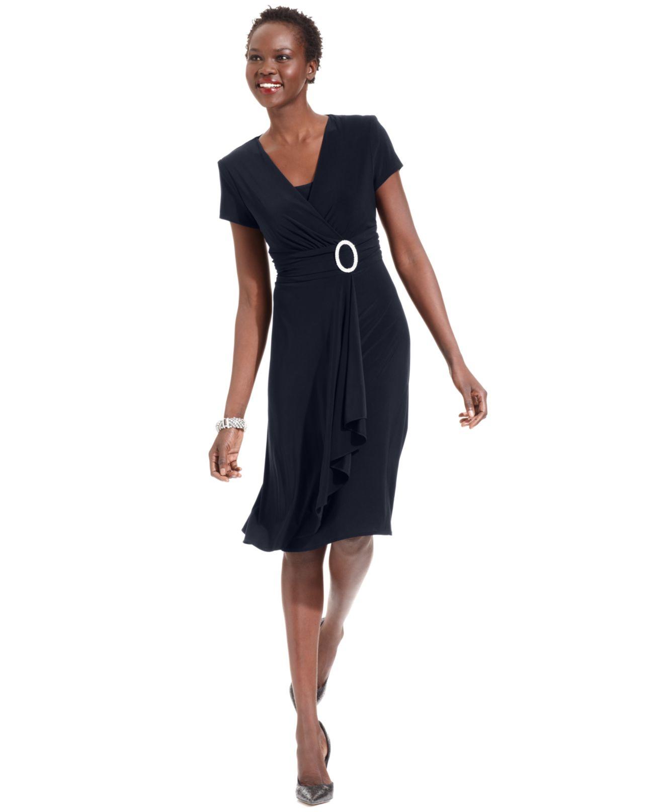 Macys Navy Blue Dresses: R & M Richards Dress, Short-sleeve Faux-wrap In Blue