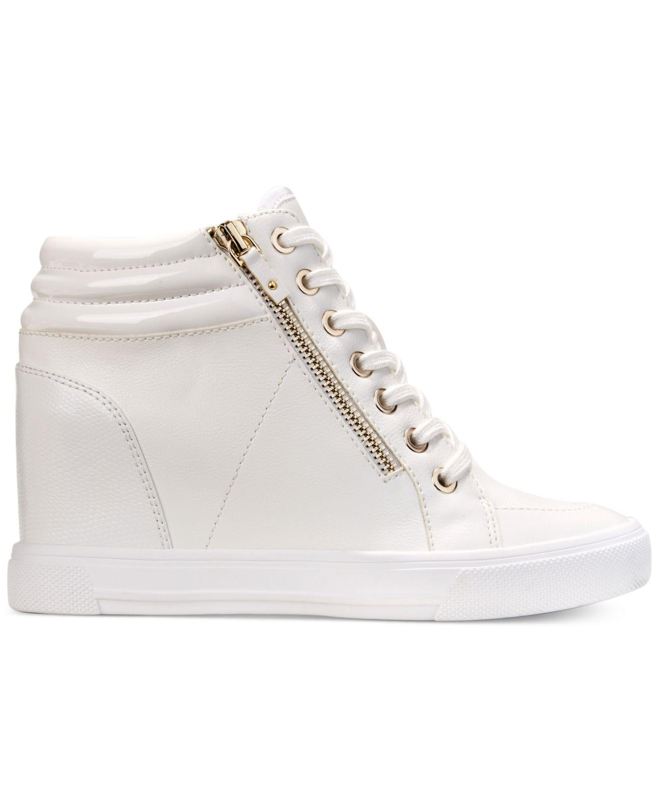 39dd70f5be73 Lyst - ALDO Kaia Lace-up Wedge Sneakers in White