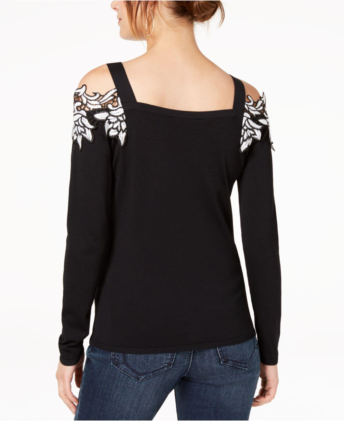 c629b404df5cf0 Lyst - INC International Concepts Appliqué Cold-shoulder Sweater in Black -  Save 17%