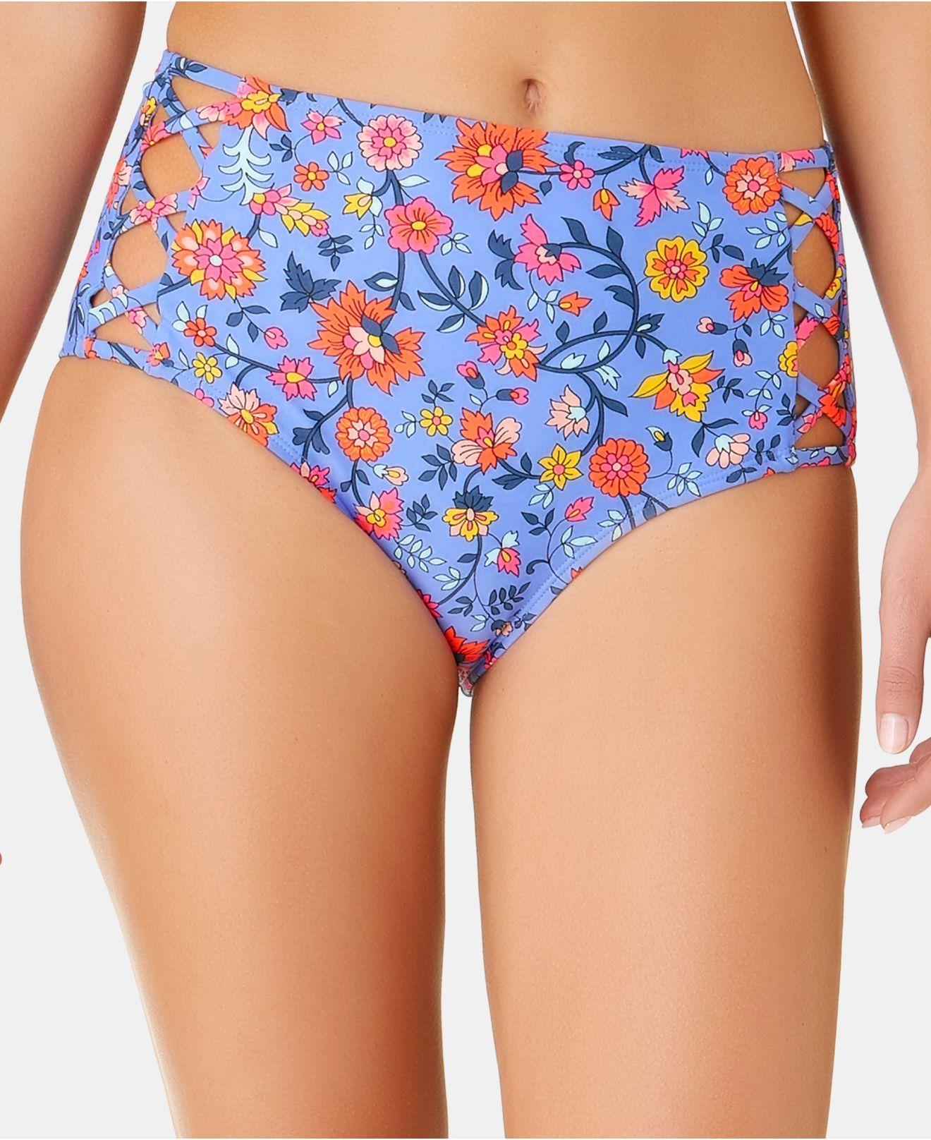 fe75a600f0 California Waves. Women's Blue Juniors' C'est La Vie Printed Strappy High  Waist Bottoms ...