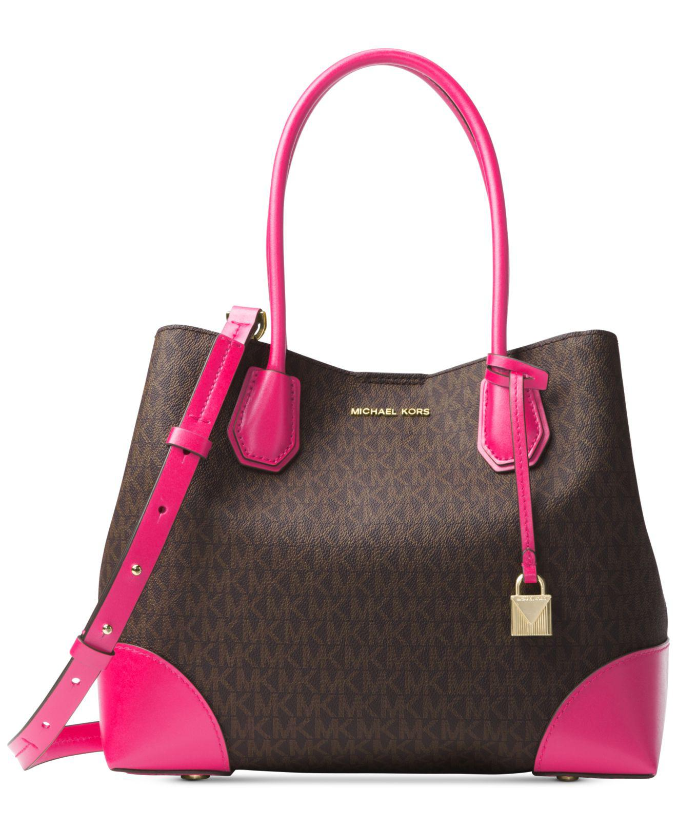 7d31558db36b ... norway lyst michael kors mercer corner medium center zip tote in pink  16c1c 5504b