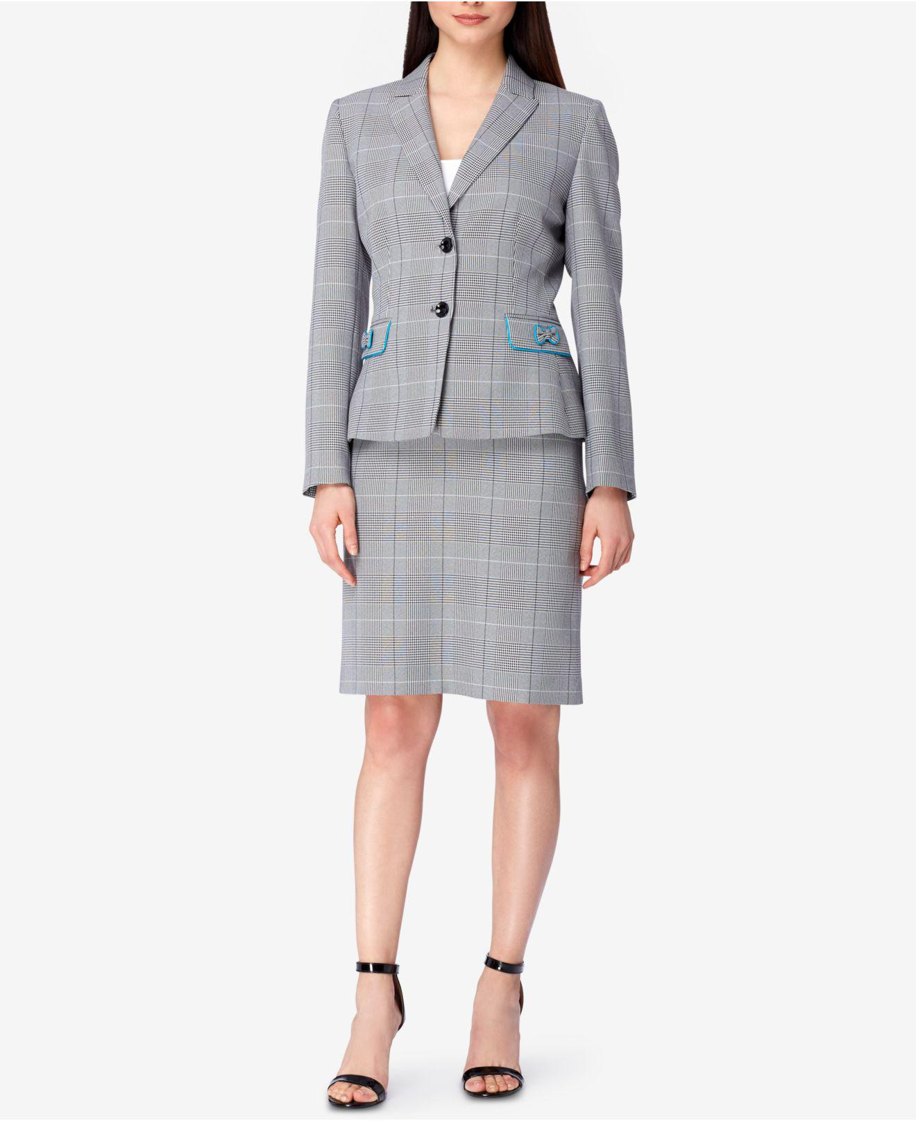Tahari Petite Bow Trim Skirt Suit In Gray Save 21 Lyst