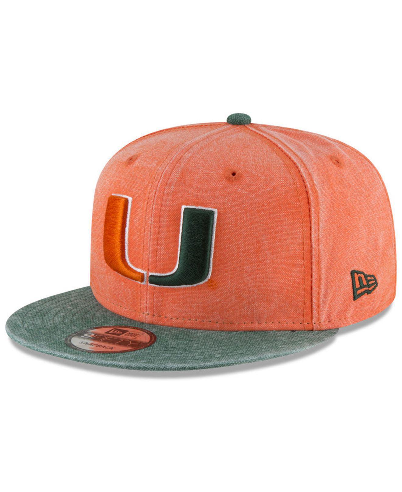 100% authentic 8f9d1 d00ea Lyst - KTZ Miami Hurricanes Rugged Canvas Snapback Cap in Orange for Men