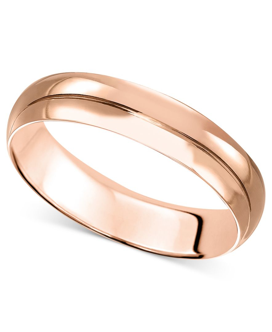 macy 39 s 14k rose gold ring 4mm wedding band in pink lyst. Black Bedroom Furniture Sets. Home Design Ideas