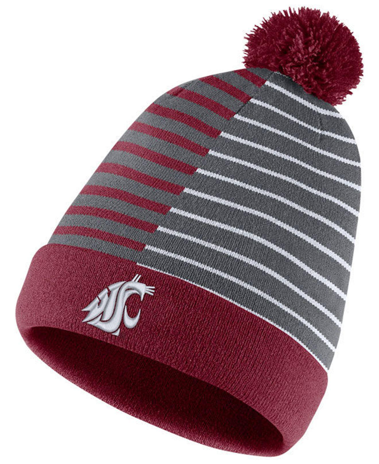 aeefbfbc8dd Lyst - Nike Washington State Cougars Striped Beanie Knit Hat in Red ...