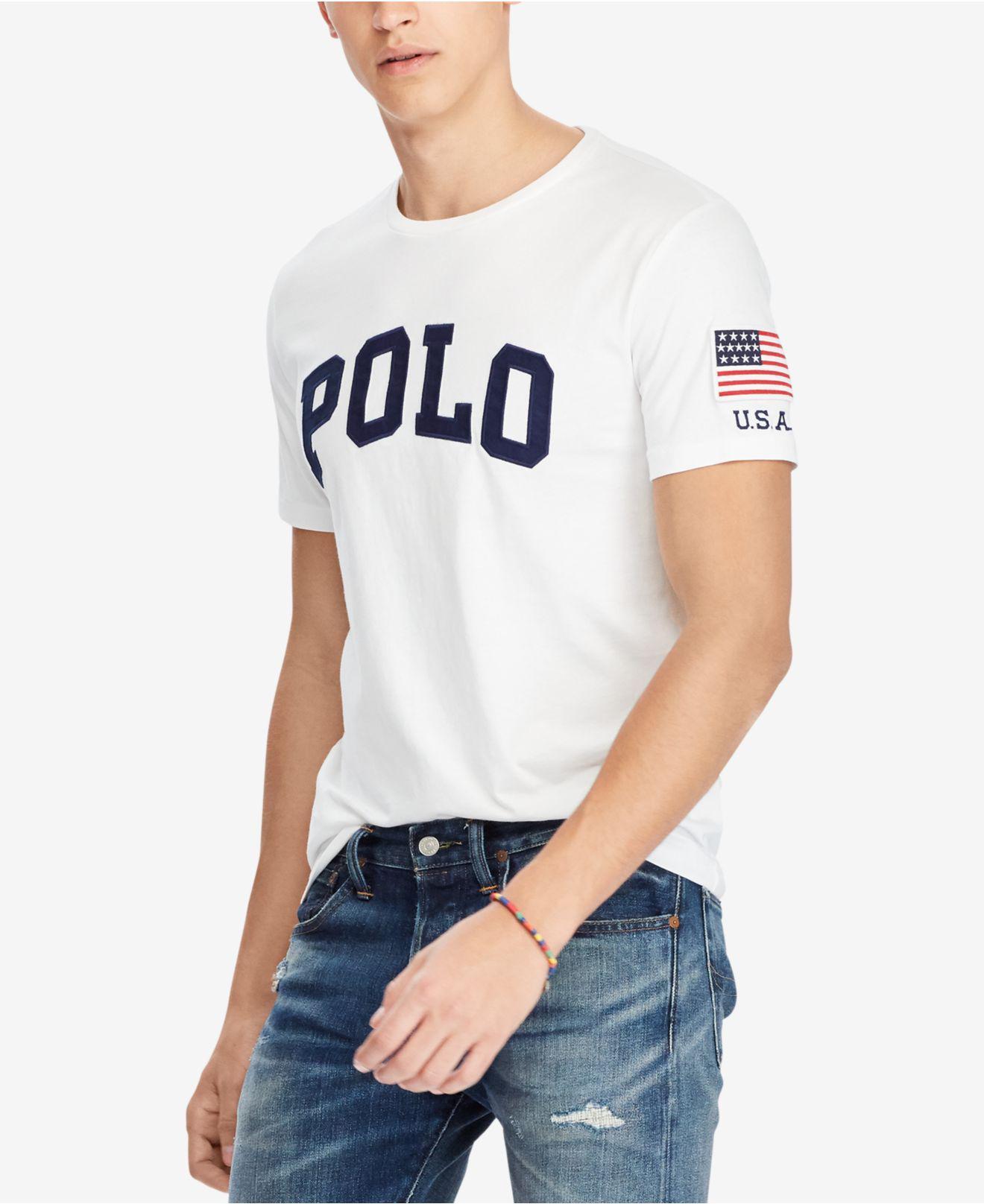 de8c3393 Polo Ralph Lauren Men's Custom Slim Fit Logo-print T-shirt in White ...
