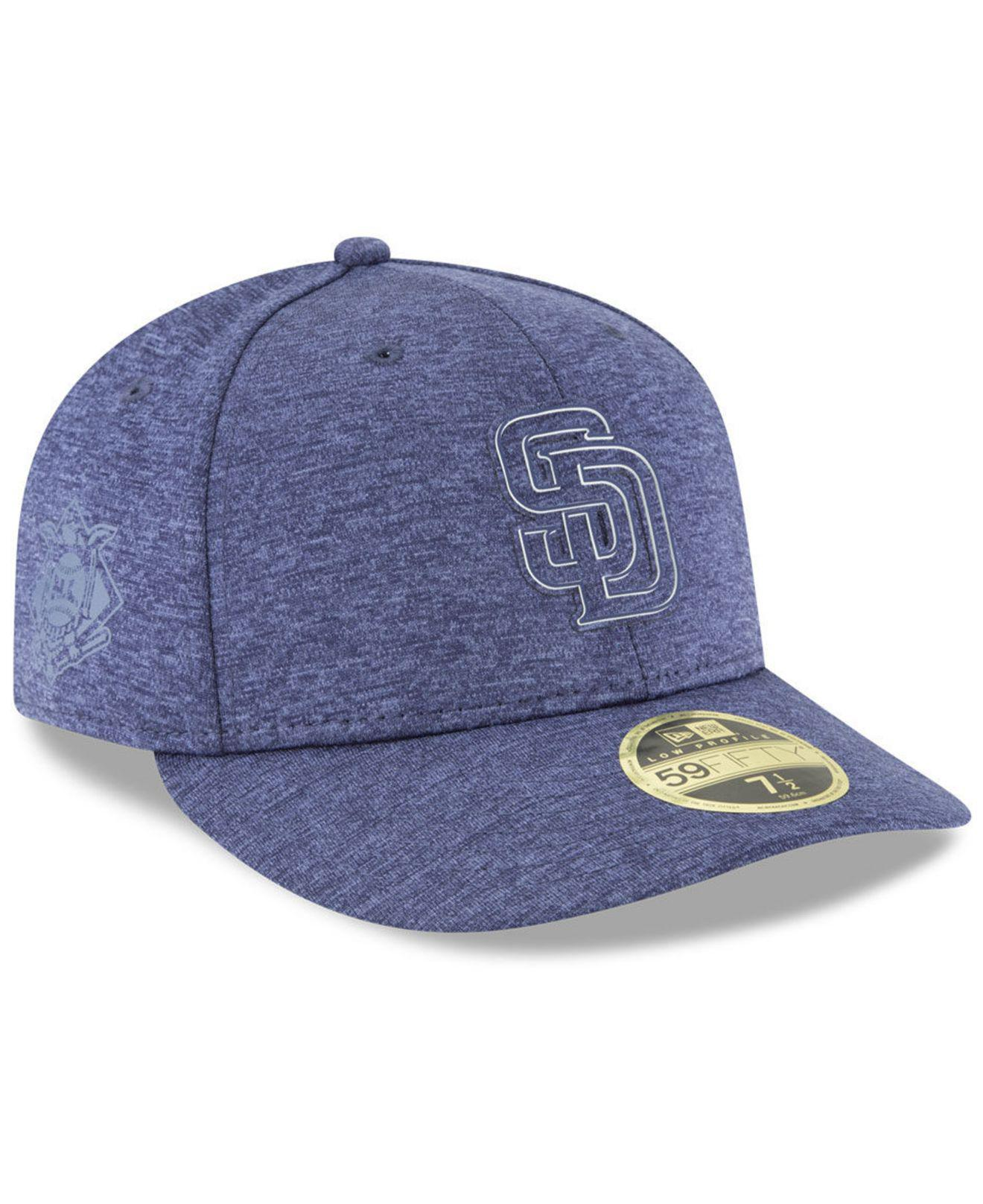 KTZ. Men s Blue San Diego Padres Clubhouse Low Crown 59fifty Fitted Cap 15cf492f6d6d