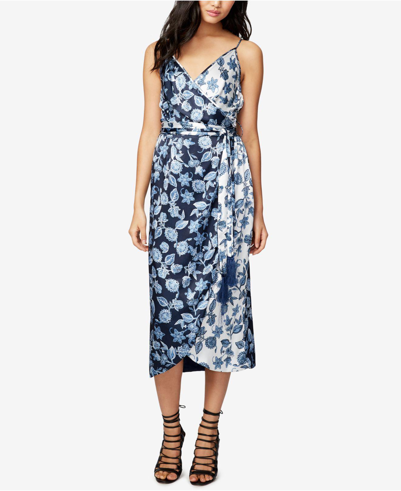 9473c2b8fb61b Lyst - RACHEL Rachel Roy Floral-print Wrap Slip Midi Dress in Blue