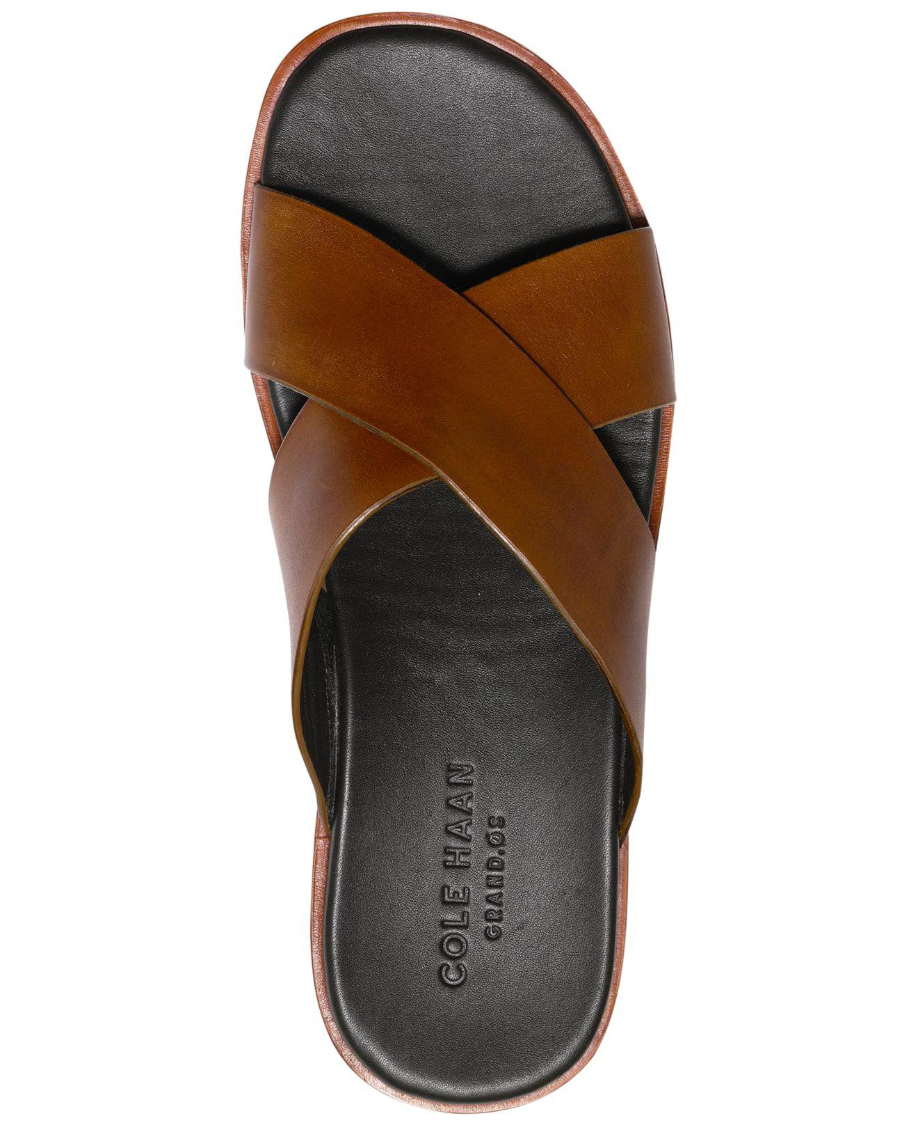 15d9dd88d Cole Haan - Brown Goldwyn Criss Cross Sandals for Men - Lyst. View  fullscreen