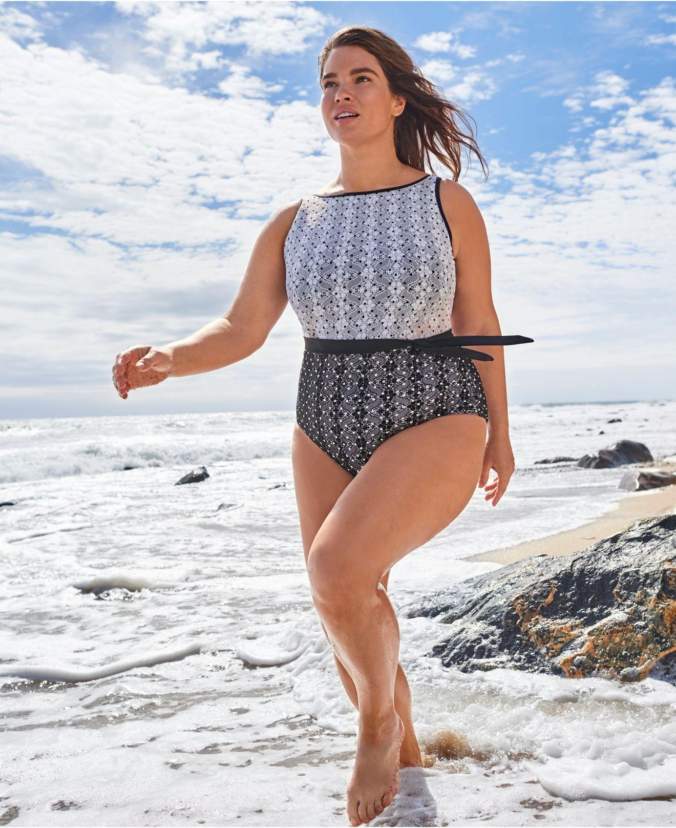 0b8de0fe0e Anne Cole - Multicolor Plus Size In First Lace Dot-print One-piece Swimsuit.  View fullscreen