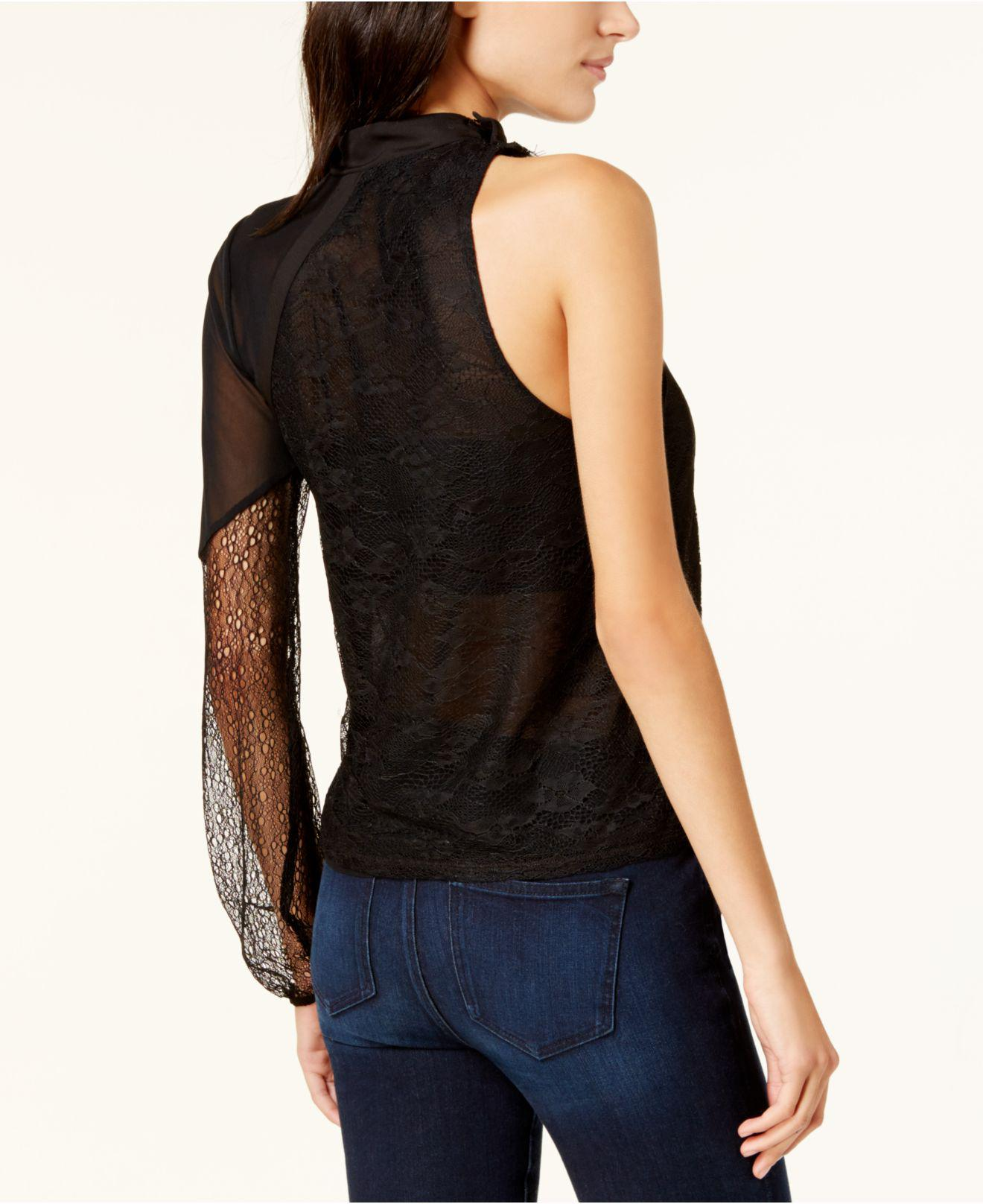3c03f13e64950e Lyst - Guess Suzy Lace One-shoulder Top in Black