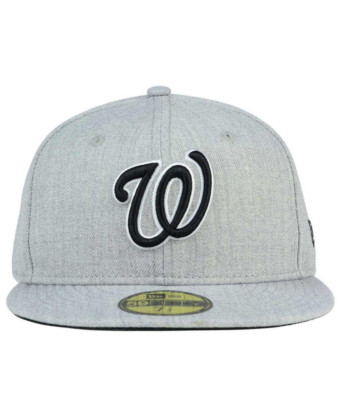 size 40 b5765 91dce ... usa lyst ktz washington nationals heather black white 59fifty cap in  gray for men 08d2b db7c0