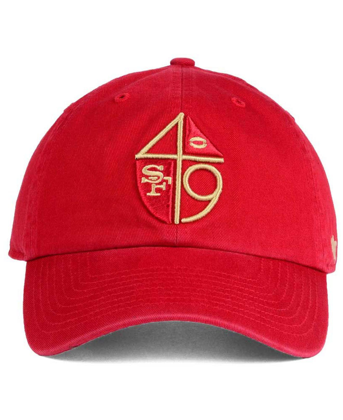 229a9ab78998c0 Lyst - 47 Brand San Francisco 49ers Clean Up Strapback Cap in Red for Men