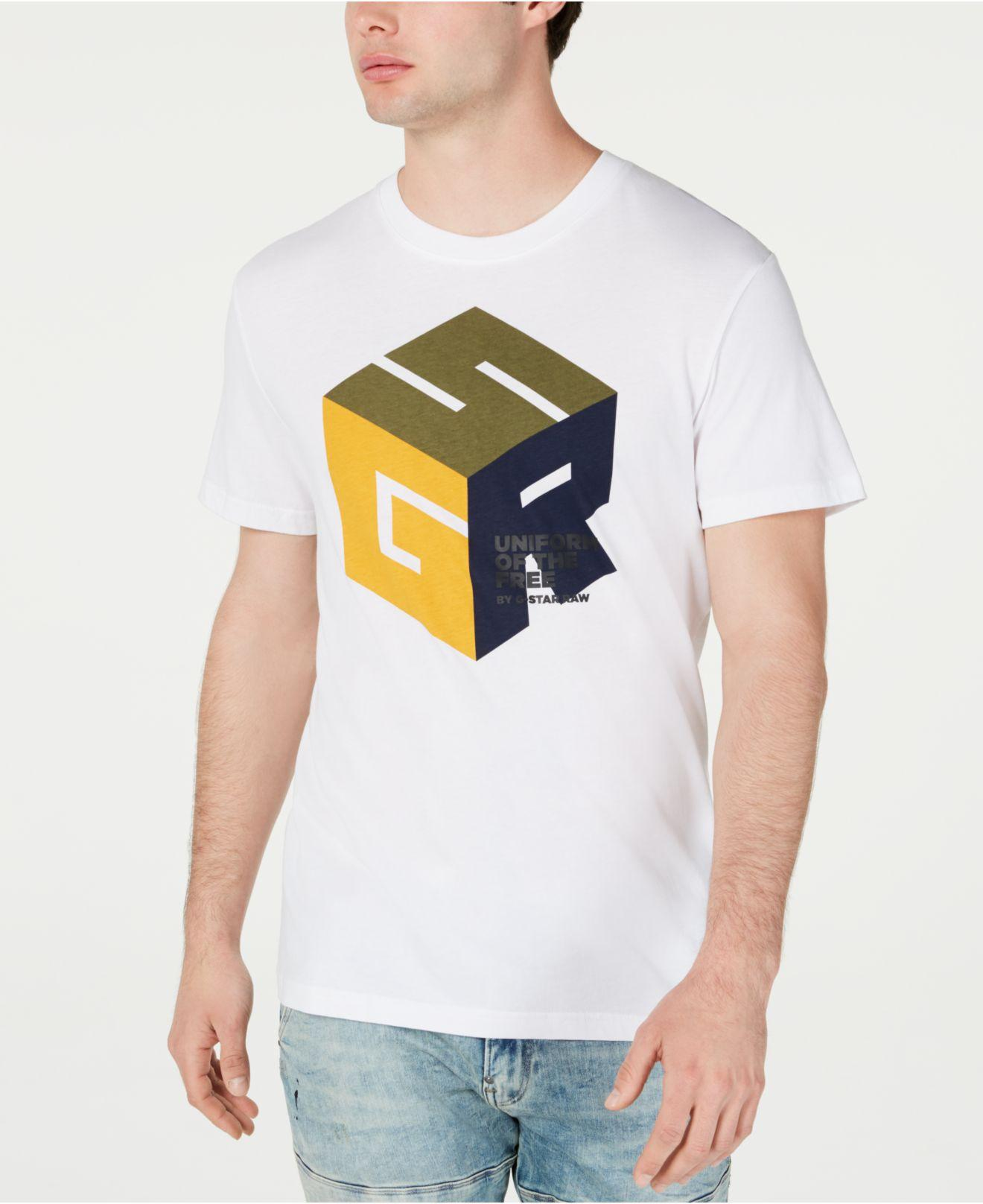 113a03bfe G-Star RAW Cube Logo T-shirt, Created For Macy's in White for Men - Lyst