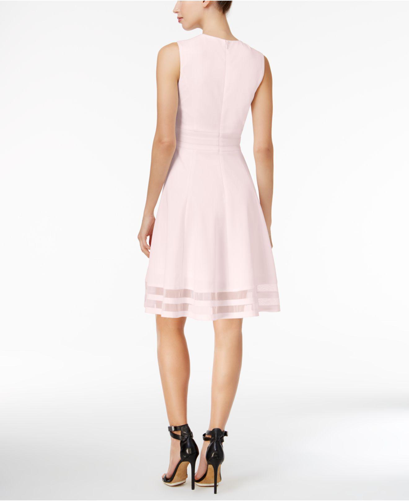 41e5e098a95 Calvin Klein Illusion-trim Fit   Flare Dress in Pink - Lyst
