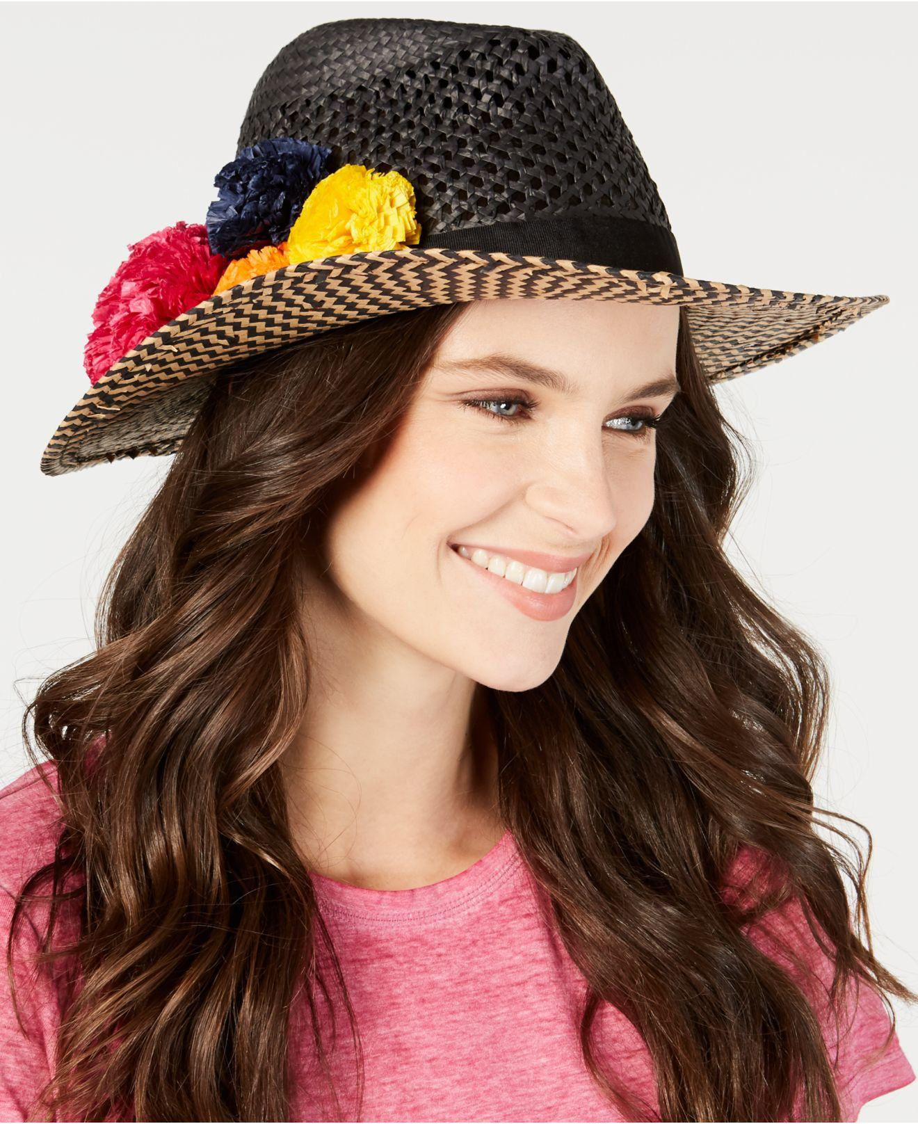 580b04f417018 Lyst - Betsey Johnson Pom Pom Panama Hat in Black