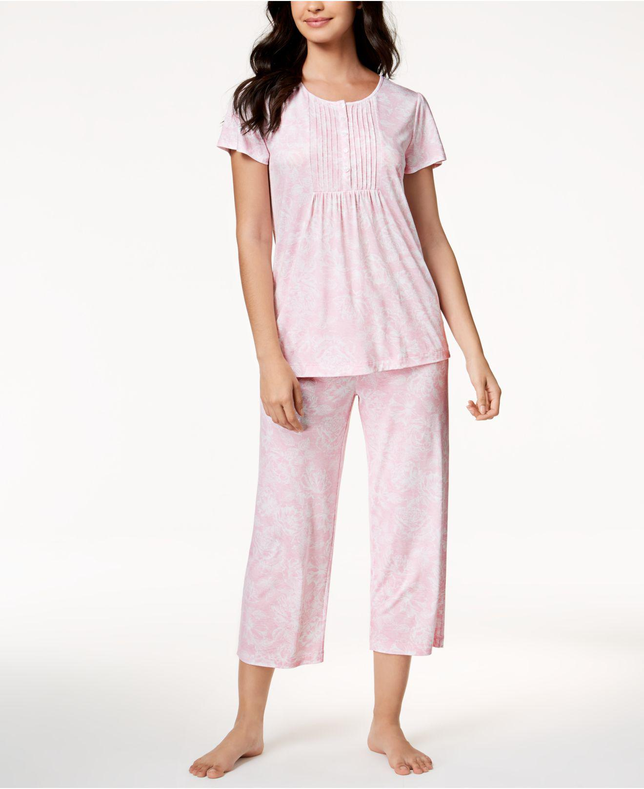 d12e3af695fb Lyst - Charter Club Pleated Knit Pajama Set, Created For Macy's in Pink