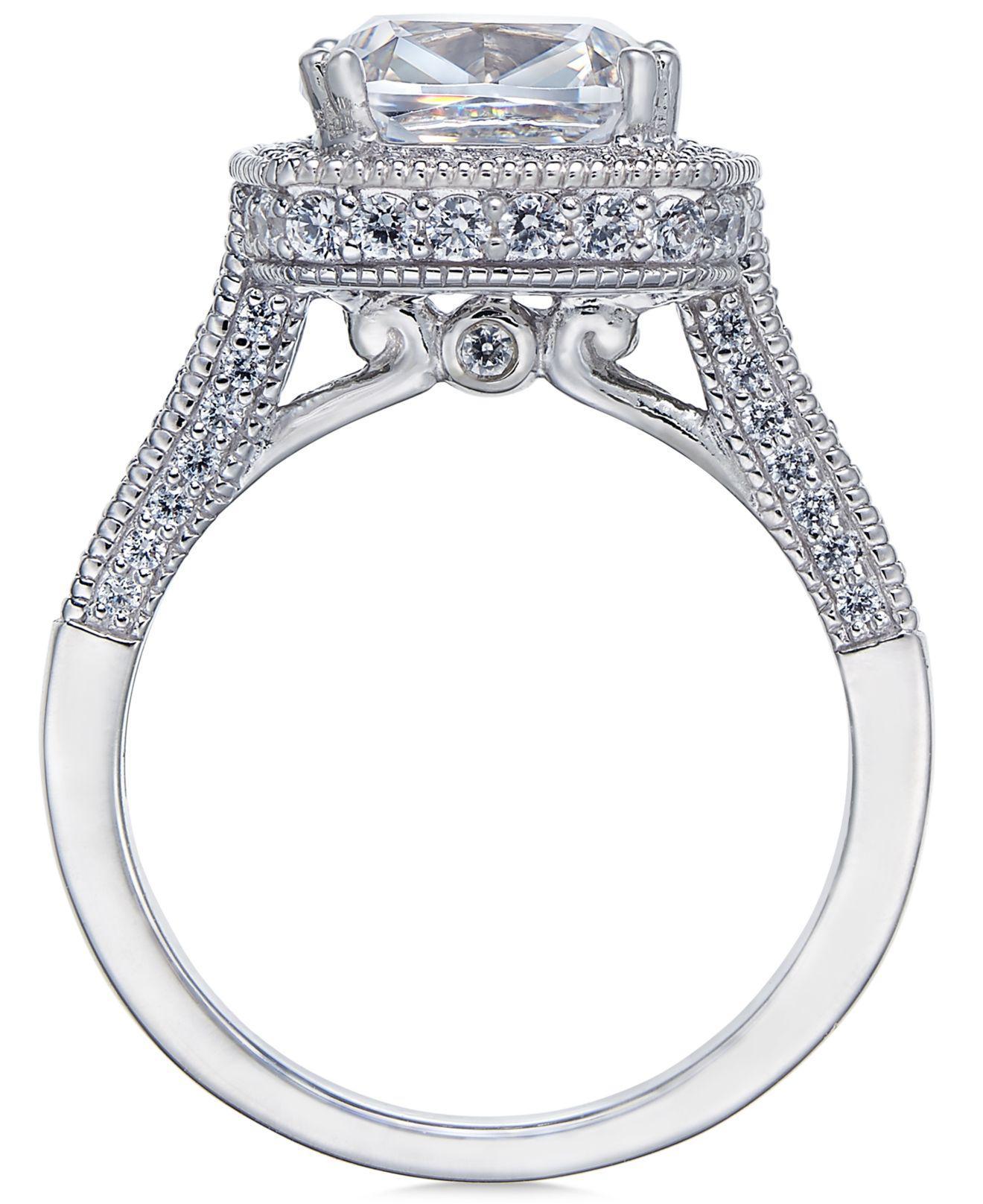 b2232fdd7 Arabella Sterling Silver Ring Set, Swarovski Zirconia Bridal Ring And Band  Set (7-5/8 Ct. T.w.) in Metallic - Lyst