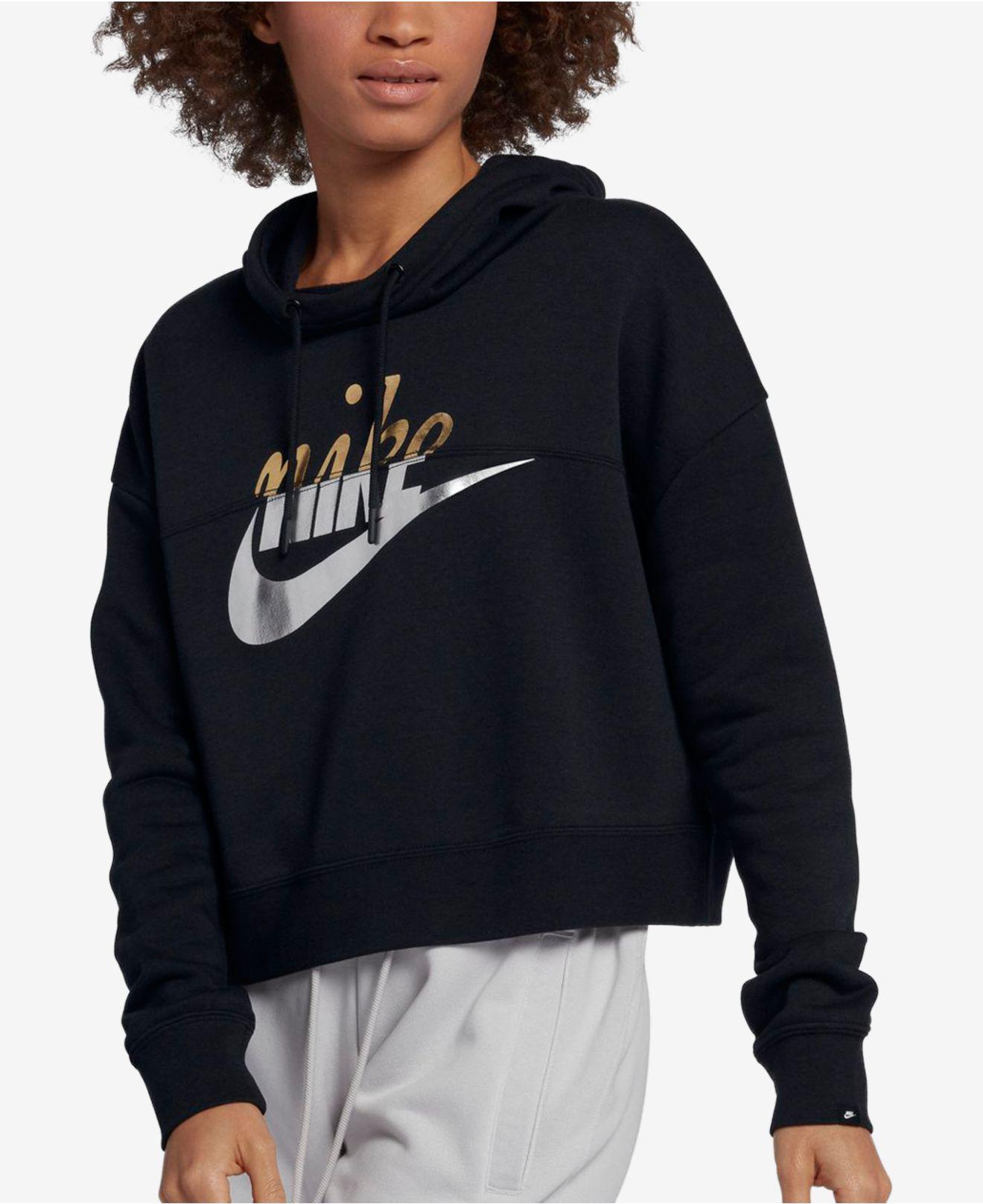 1d38c8e8389f Lyst - Nike Sportswear Rally Metallic-logo Fleece Cropped Hoodie in ...