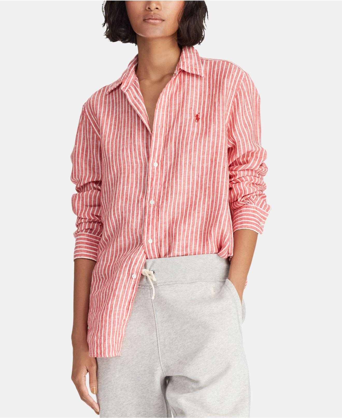3024364ad Lyst - Polo Ralph Lauren Relaxed-fit Linen Shirt in Red