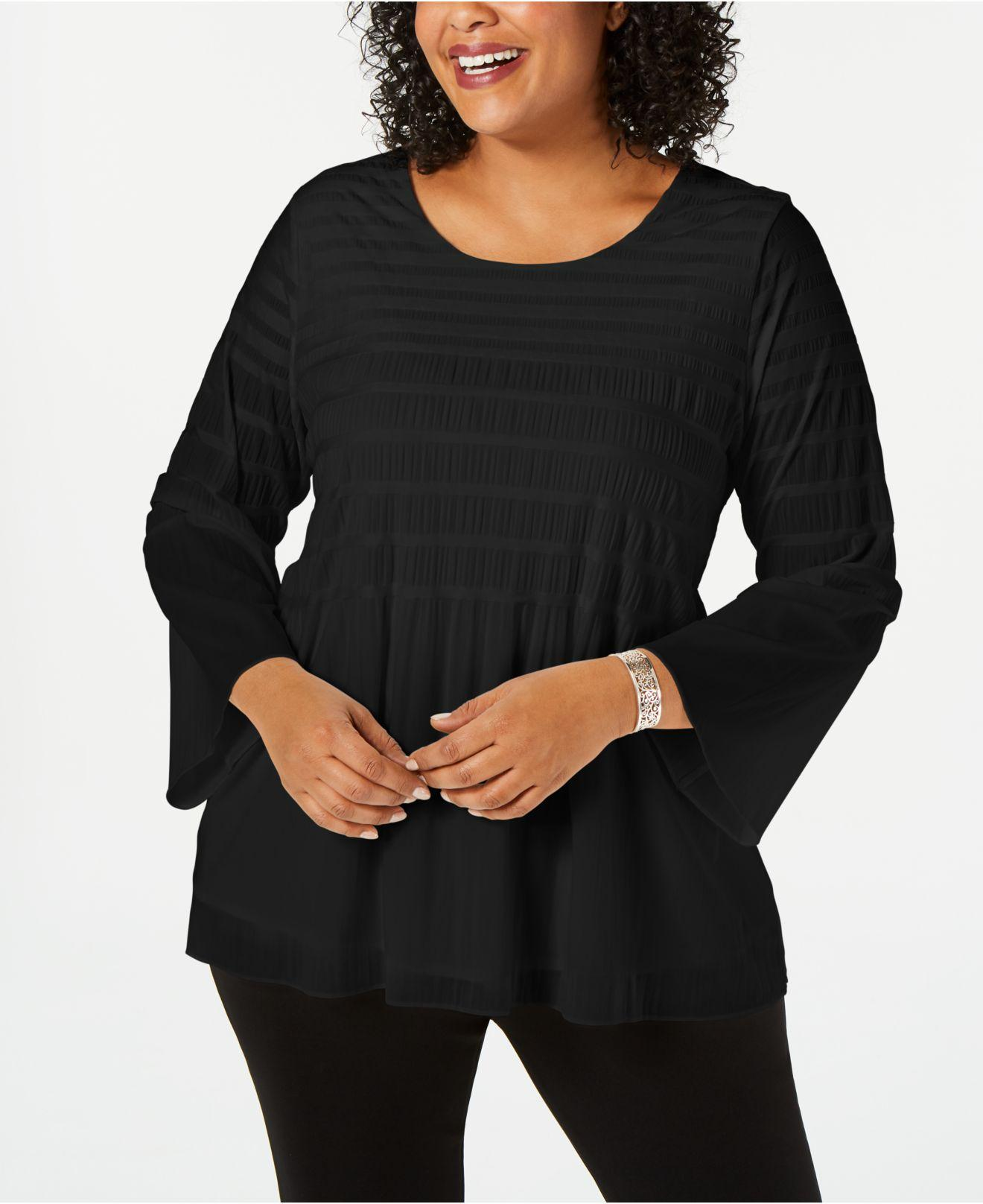 2e9dd05337f Alfani. Women s Black Plus Size Smocked-stripe Top ...