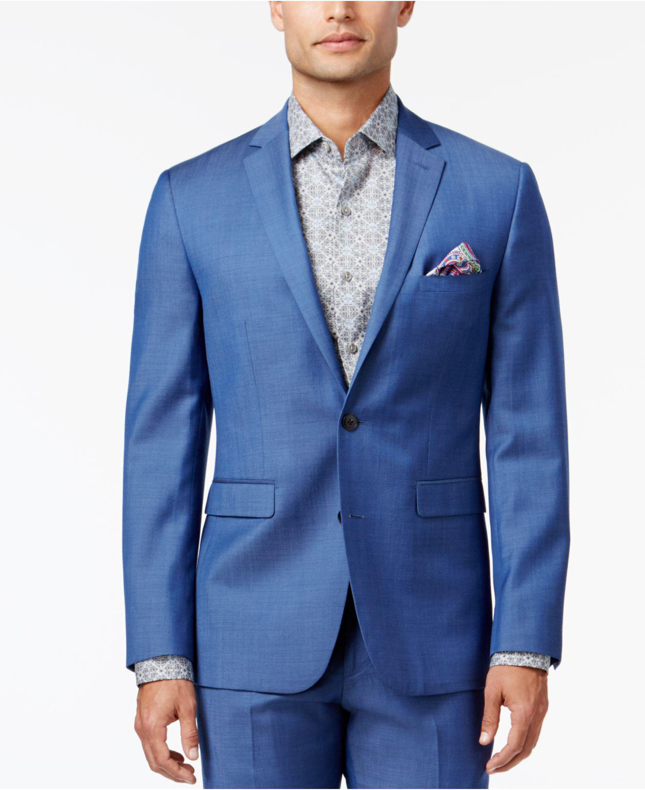 30235d26b2 Vince Camuto Men s Slim-fit Medium Blue Chambray Suit in Blue for ...