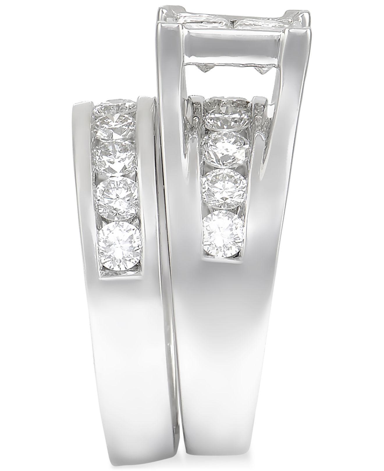 Macy s Diamond Channel set Bridal Set 3 Ct T w In 14k White