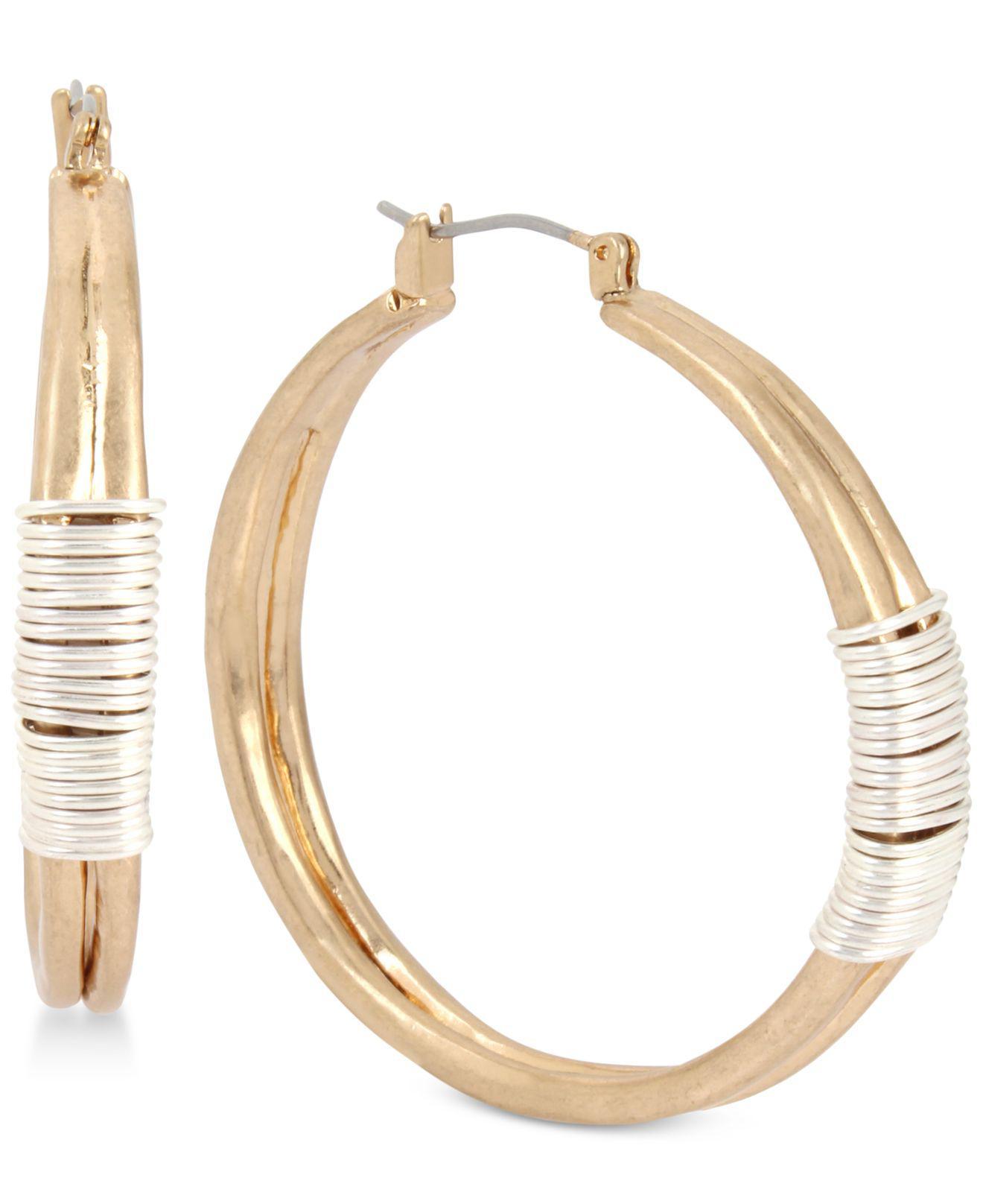 Lyst - Robert Lee Morris Two-tone Wire-wrapped Hoop Earrings in Metallic