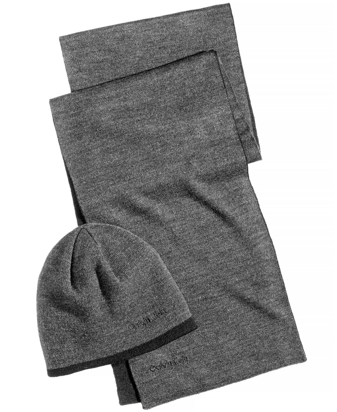 Lyst - Calvin Klein Men s Reversible Hat   Scarf Set in Black for Men 569550f34d9