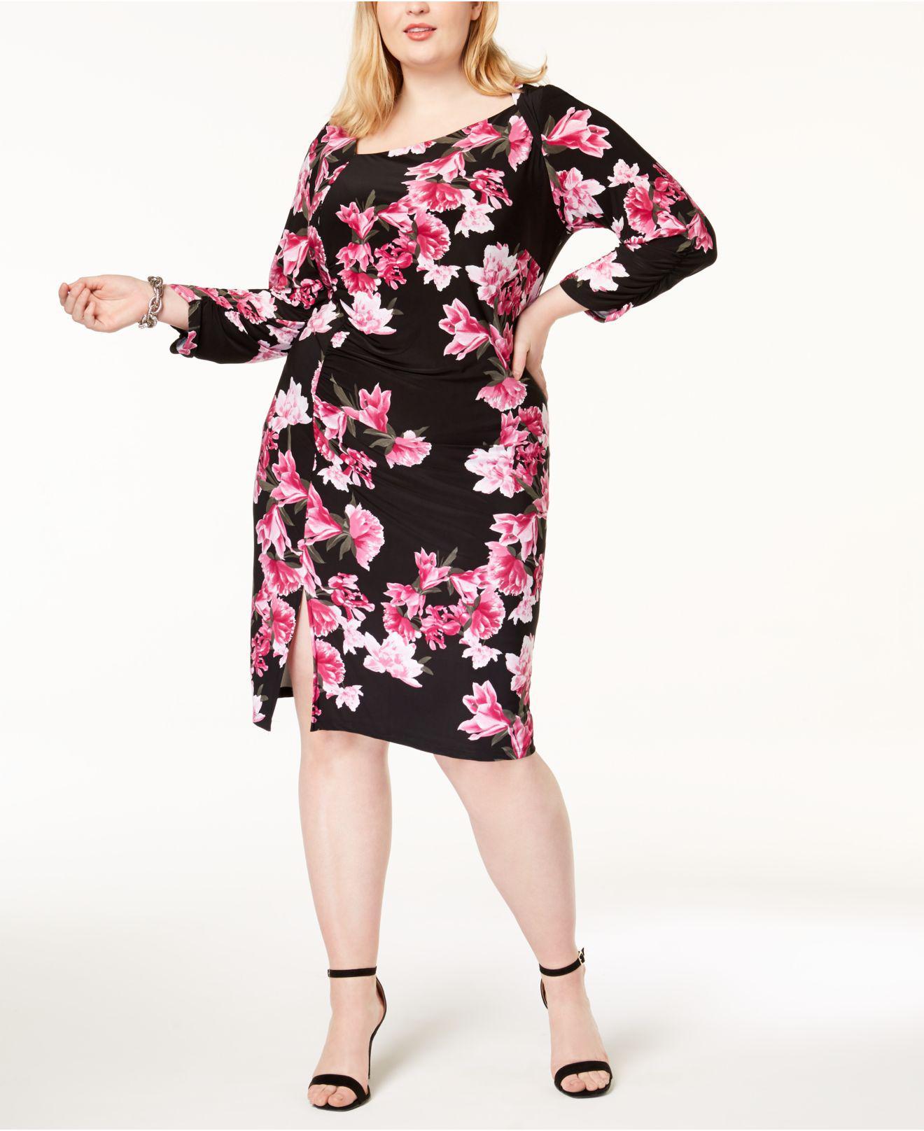 Details about INC International Concepts Plus Size Floral Print Black  Sheath Dress 3X