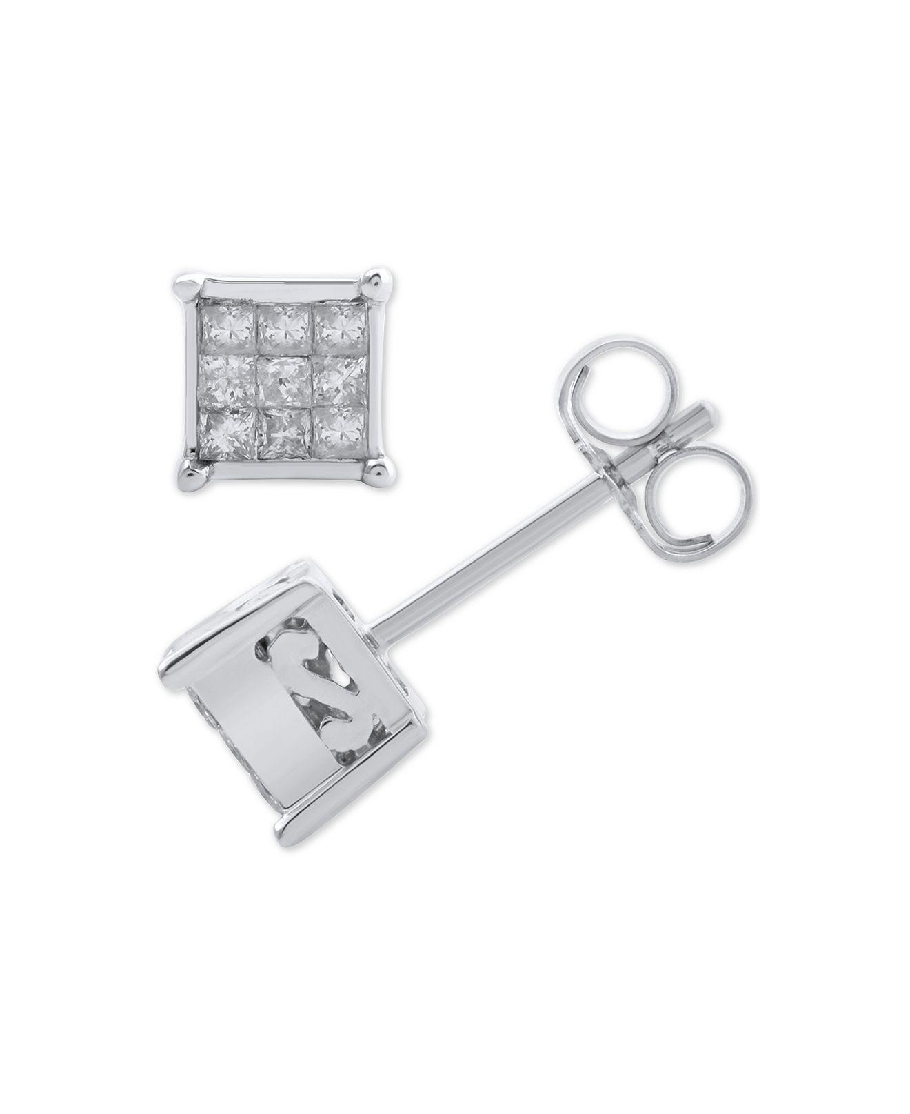 dad571a6d Lyst - Macy's Diamond Princess Cluster Stud Earrings (1/4 Ct. T.w. ...
