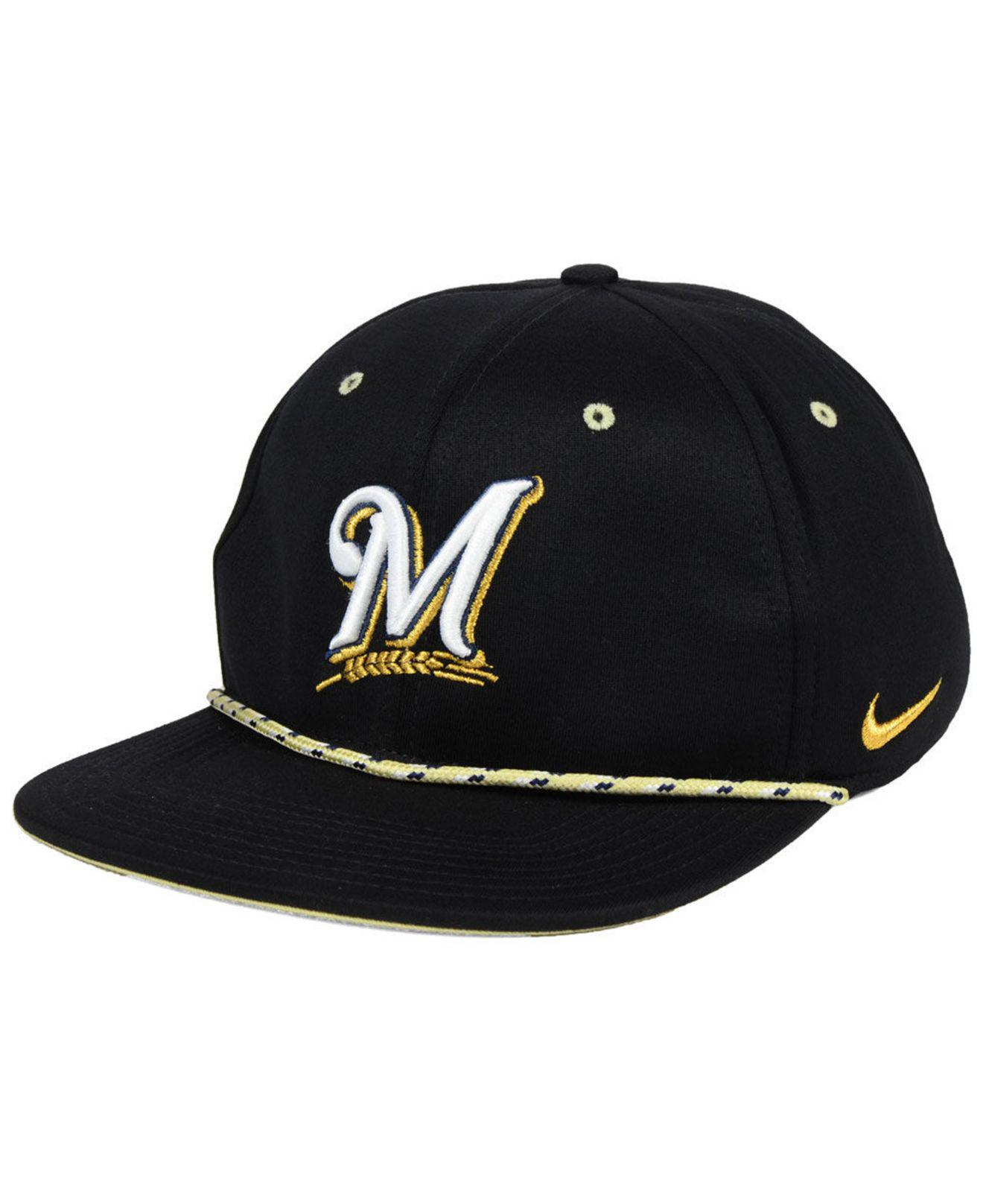 buy online 418c0 5c365 ... clearance nike. mens black milwaukee brewers string bill snapback cap  a4835 01a4d