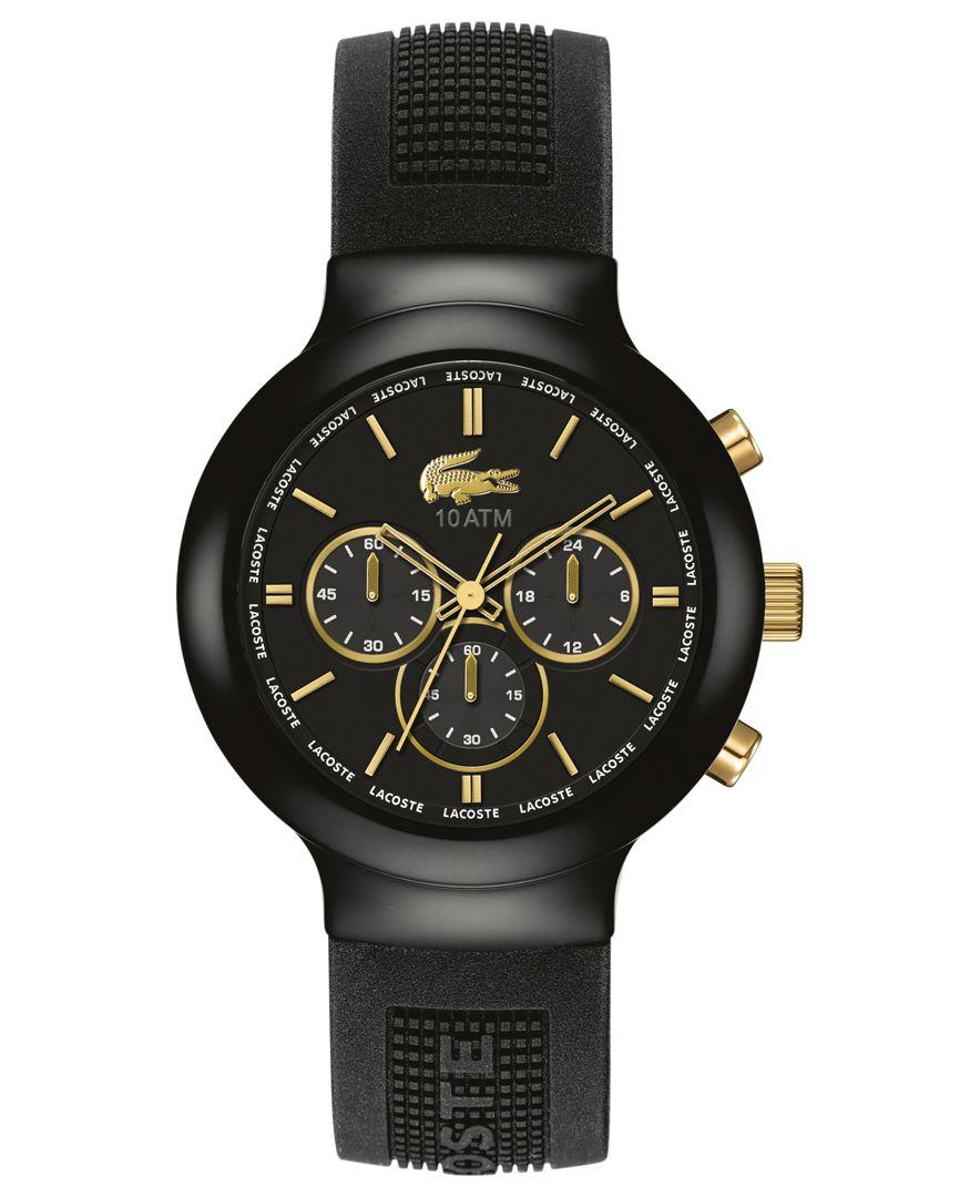 lacoste s chronograph borneo black silicone