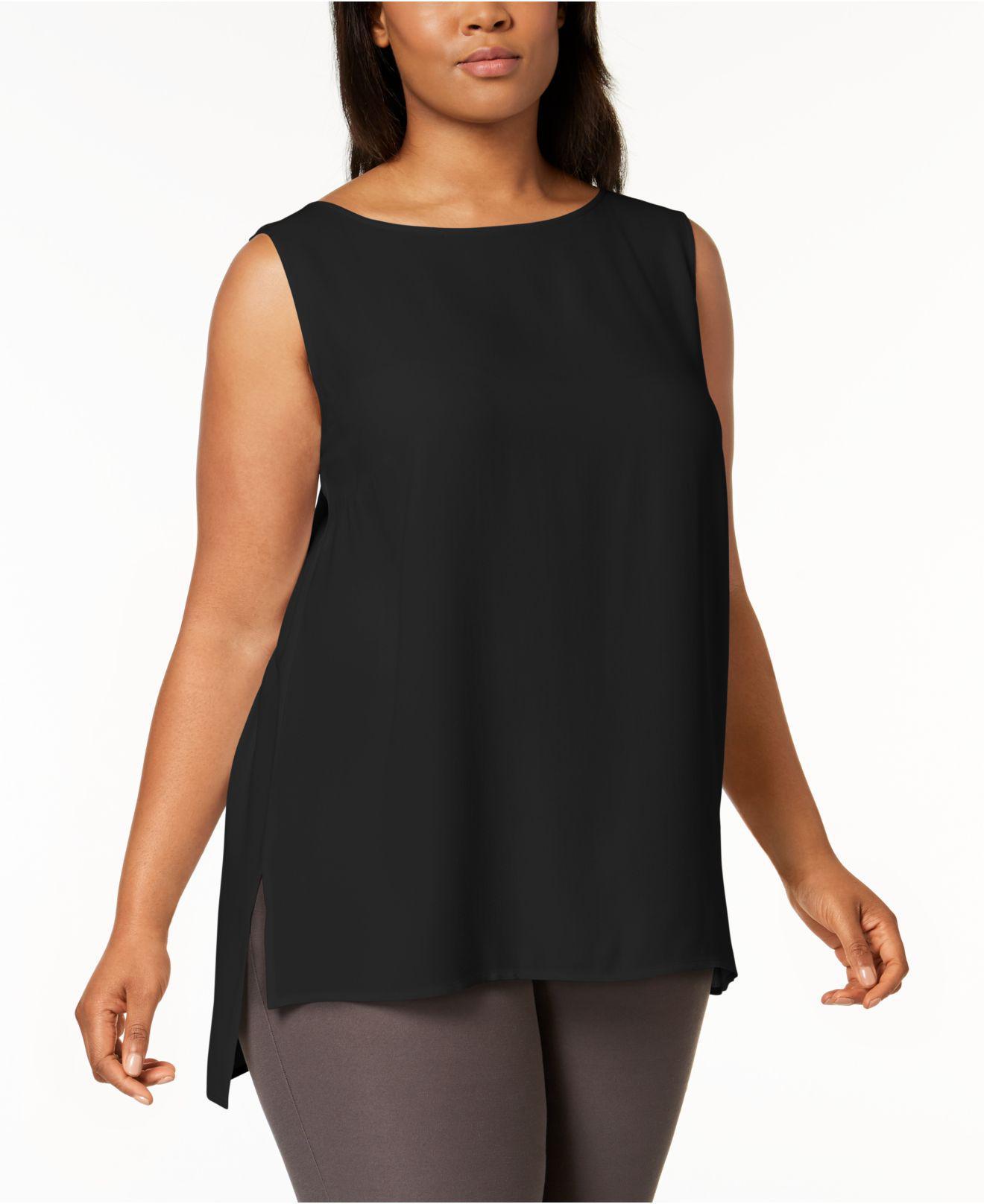 dba8ab60107 Lyst - Eileen Fisher Plus Size System Silk High-low Tunic in Black