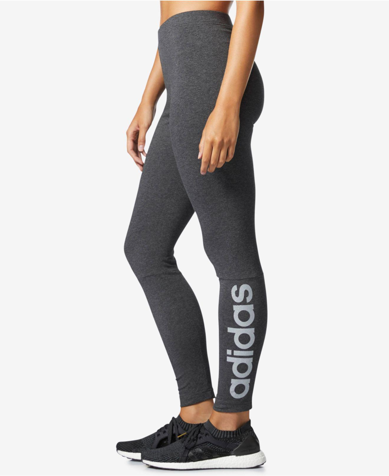 d801d1beb042b Lyst - adidas Linear Metallic-logo Leggings in Gray