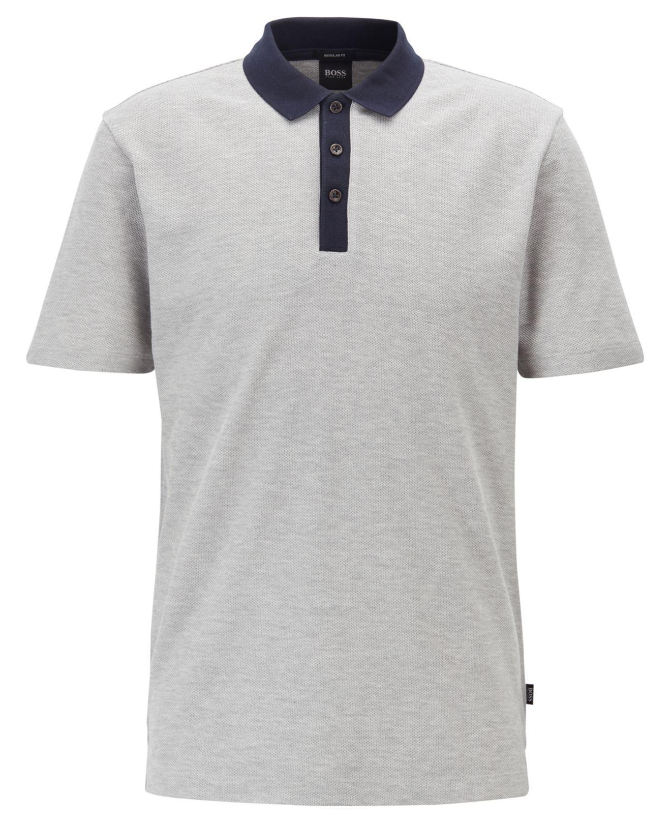 2cba4910 BOSS - Gray Regular-fit Polo Shirt In Honeycomb Cotton Piqué for Men -  Lyst. View fullscreen