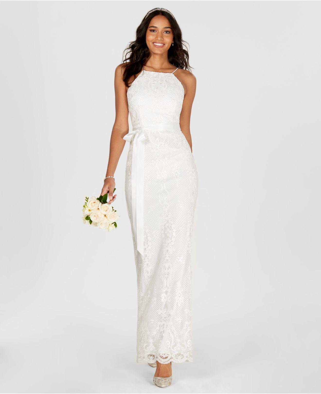 Lyst - Adrianna Papell Lace Halter Column Gown in White