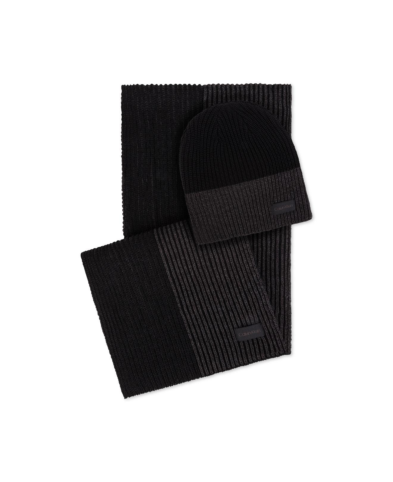 Calvin Klein - Black Men s Colorblocked Hat   Scarf Set for Men - Lyst.  View fullscreen f58746529a8